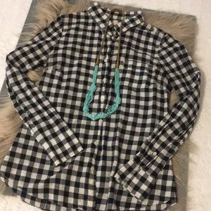 J.Crew black/white check button down